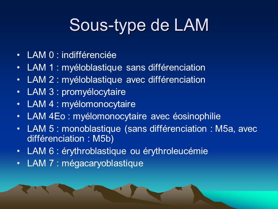 Sous-type de LAM LAM 0 : indifférenciée LAM 1 : myéloblastique sans différenciation LAM 2 : myéloblastique avec différenciation LAM 3 : promyélocytaire LAM 4 : myélomonocytaire LAM 4Eo : myélomonocytaire avec éosinophilie LAM 5 : monoblastique (sans différenciation : M5a, avec différenciation : M5b) LAM 6 : érythroblastique ou érythroleucémie LAM 7 : mégacaryoblastique