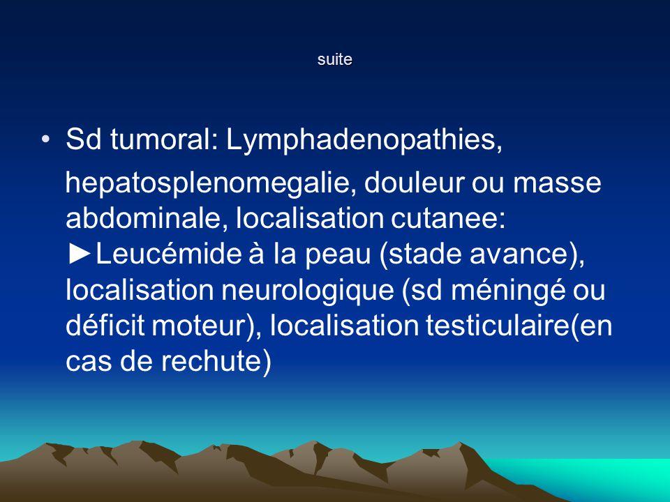 suite Sd tumoral: Lymphadenopathies, hepatosplenomegalie, douleur ou masse abdominale, localisation cutanee: Leucémide à la peau (stade avance), localisation neurologique (sd méningé ou déficit moteur), localisation testiculaire(en cas de rechute)