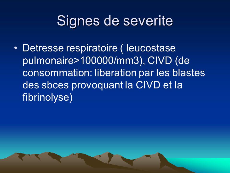 Signes de severite Detresse respiratoire ( leucostase pulmonaire>100000/mm3), CIVD (de consommation: liberation par les blastes des sbces provoquant la CIVD et la fibrinolyse)