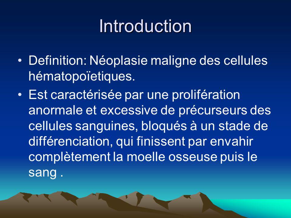 Introduction Definition: Néoplasie maligne des cellules hématopoïetiques.