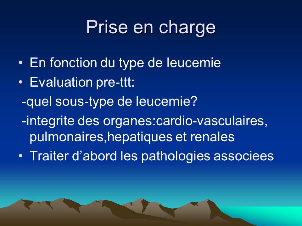Prise en charge En fonction du type de leucemie Evaluation pre-ttt: -quel sous-type de leucemie.