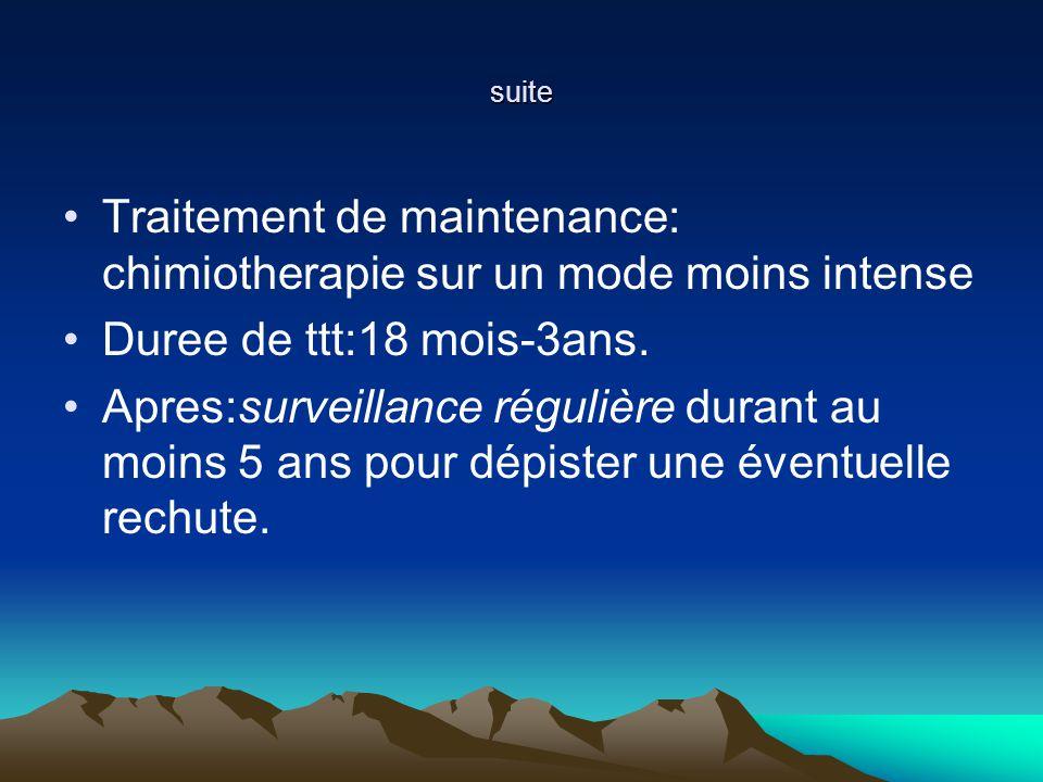 suite Traitement de maintenance: chimiotherapie sur un mode moins intense Duree de ttt:18 mois-3ans.
