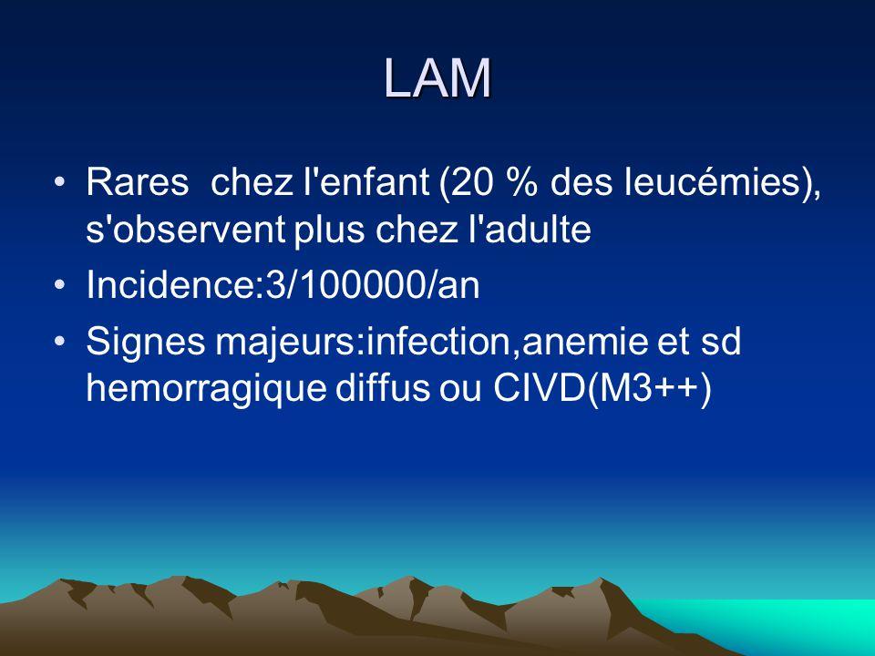 LAM Rares chez l enfant (20 % des leucémies), s observent plus chez l adulte Incidence:3/100000/an Signes majeurs:infection,anemie et sd hemorragique diffus ou CIVD(M3++)