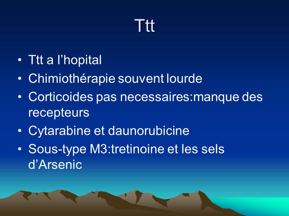 Ttt Ttt a lhopital Chimiothérapie souvent lourde Corticoides pas necessaires:manque des recepteurs Cytarabine et daunorubicine Sous-type M3:tretinoine et les sels dArsenic