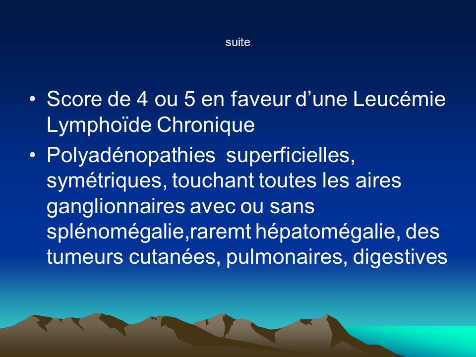 suite Score de 4 ou 5 en faveur dune Leucémie Lymphoïde Chronique Polyadénopathies superficielles, symétriques, touchant toutes les aires ganglionnaires avec ou sans splénomégalie,raremt hépatomégalie, des tumeurs cutanées, pulmonaires, digestives