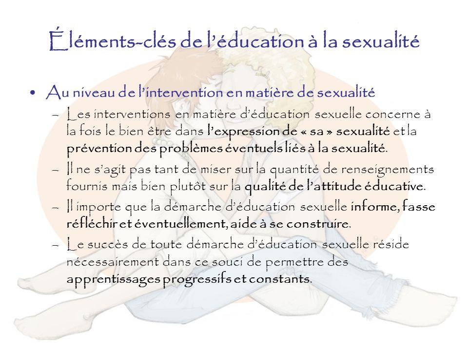 Éléments-clés de léducation à la sexualité Au niveau de lintervention en matière de sexualité –Les interventions en matière déducation sexuelle concer