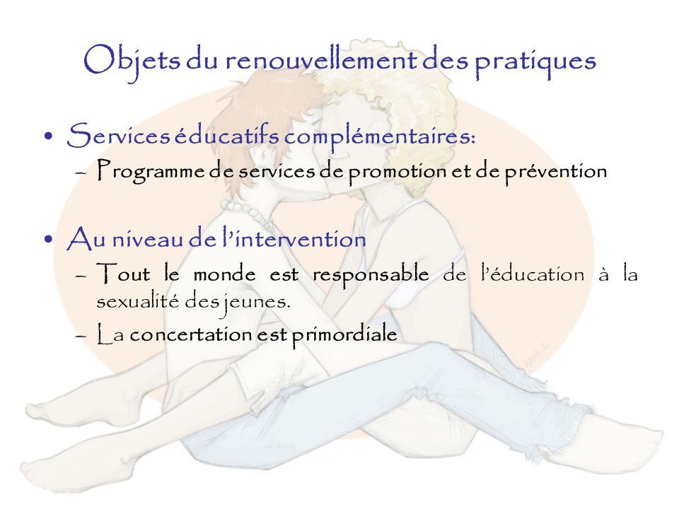 Objets du renouvellement des pratiques Services éducatifs complémentaires: –Programme de services de promotion et de prévention Au niveau de linterven