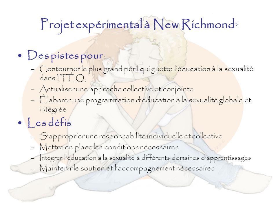 Projet expérimental à New Richmond 5 Des pistes pour : –Contourner le plus grand péril qui guette léducation à la sexualité dans PFÉQ. –Actualiser une