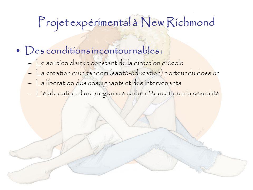 Projet expérimental à New Richmond Des conditions incontournables : –Le soutien clair et constant de la direction décole –La création dun tandem (sant