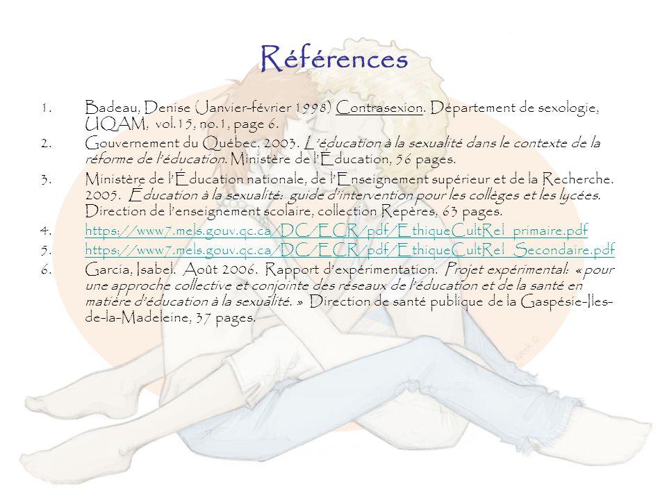 Références 1.Badeau, Denise (Janvier-février 1998) Contrasexion. Département de sexologie, UQAM, vol.15, no.1, page 6. 2.Gouvernement du Québec. 2003.