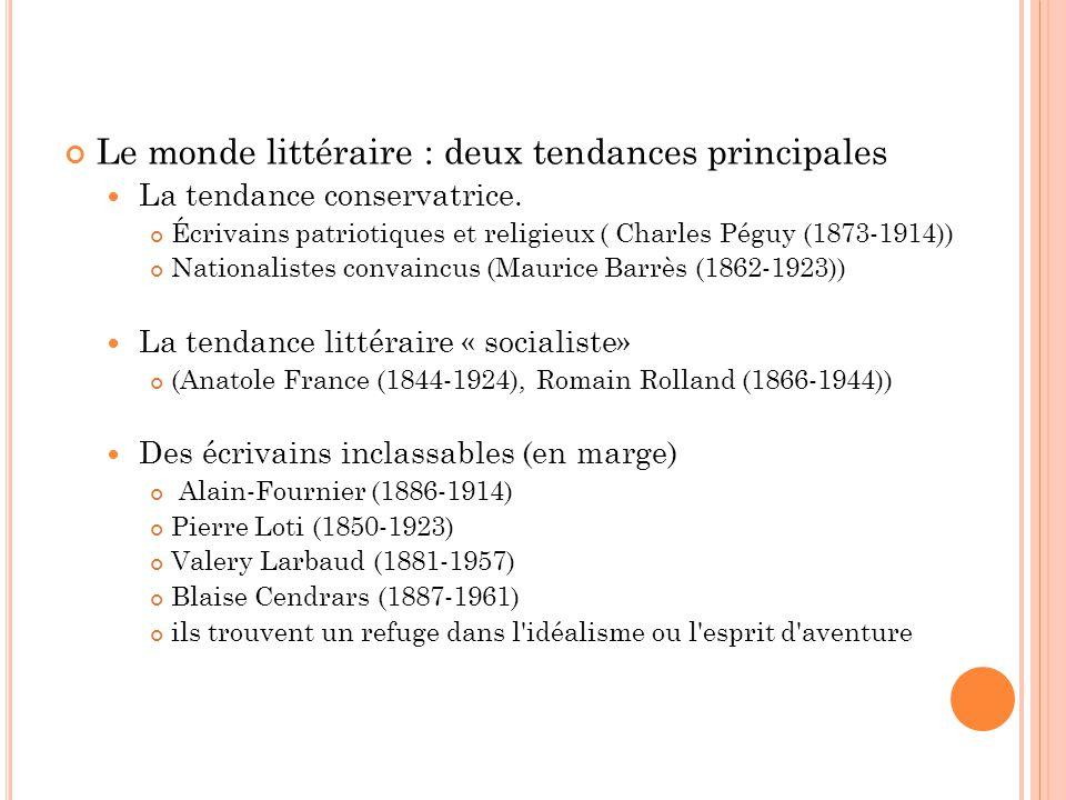 Le monde littéraire : deux tendances principales La tendance conservatrice. Écrivains patriotiques et religieux ( Charles Péguy (1873-1914)) Nationali