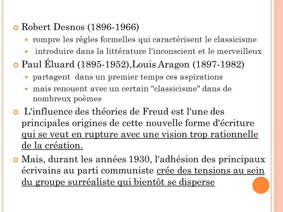 Robert Desnos (1896-1966) rompre les règles formelles qui caractérisent le classicisme introduire dans la littérature l'inconscient et le merveilleux