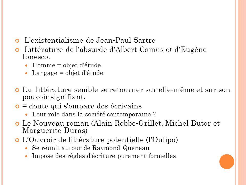 Lexistentialisme de Jean-Paul Sartre Littérature de l'absurde d'Albert Camus et d'Eugène Ionesco. Homme = objet d'étude Langage = objet détude La litt
