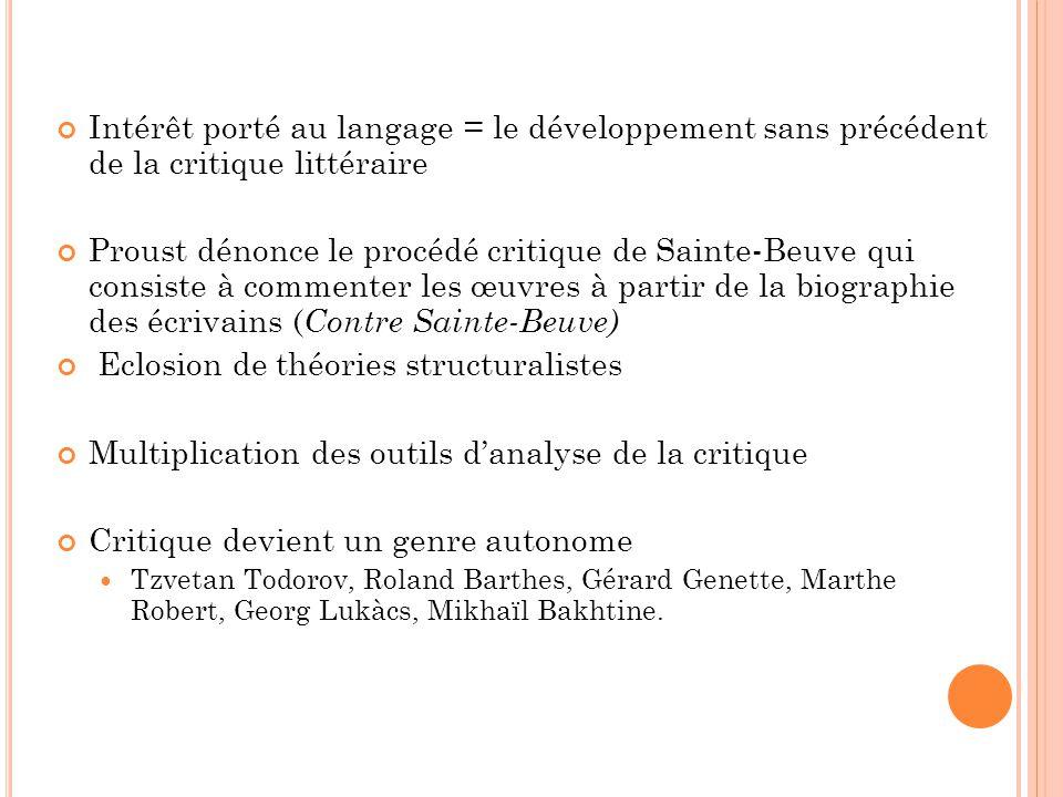 Intérêt porté au langage = le développement sans précédent de la critique littéraire Proust dénonce le procédé critique de Sainte-Beuve qui consiste à