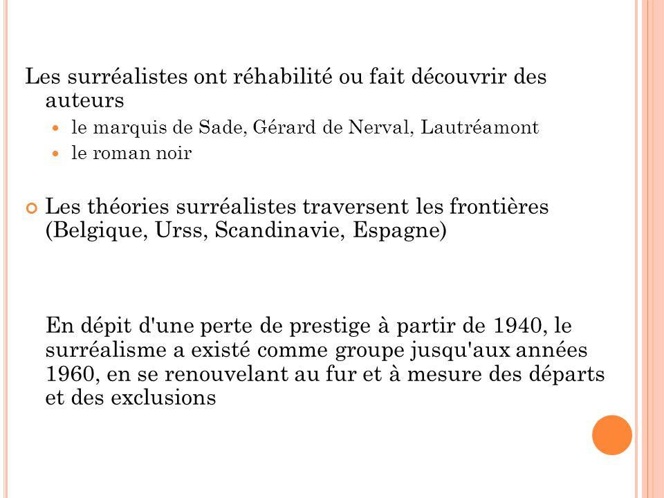 Les surréalistes ont réhabilité ou fait découvrir des auteurs le marquis de Sade, Gérard de Nerval, Lautréamont le roman noir Les théories surréaliste