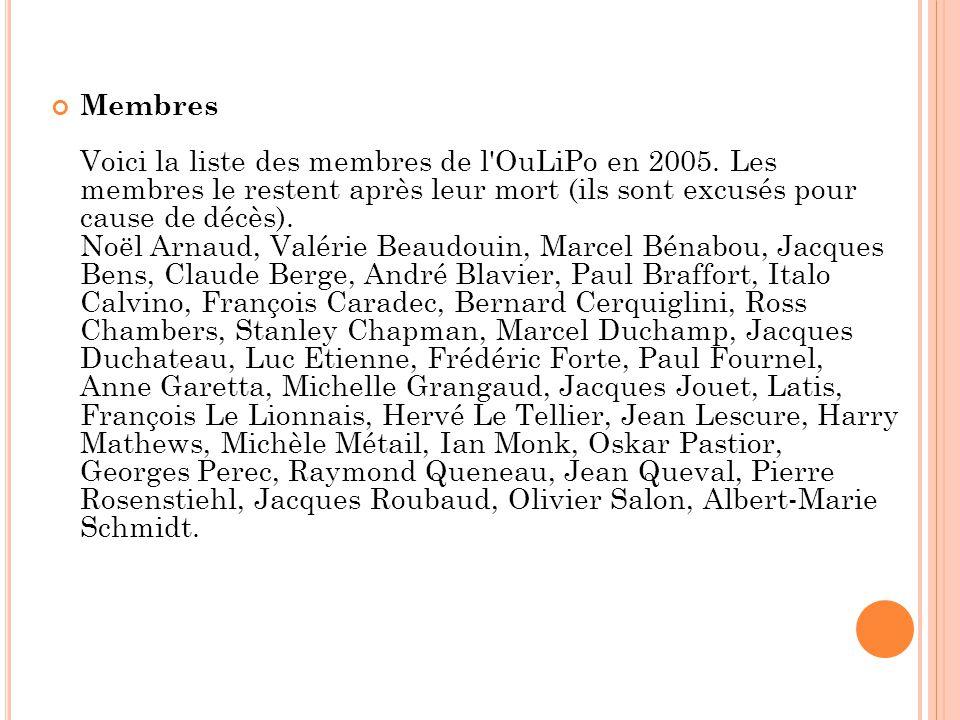 Membres Voici la liste des membres de l'OuLiPo en 2005. Les membres le restent après leur mort (ils sont excusés pour cause de décès). Noël Arnaud, Va
