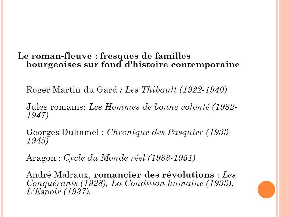Le roman-fleuve : fresques de familles bourgeoises sur fond d'histoire contemporaine Roger Martin du Gard : Les Thibault (1922-1940) Jules romains: Le