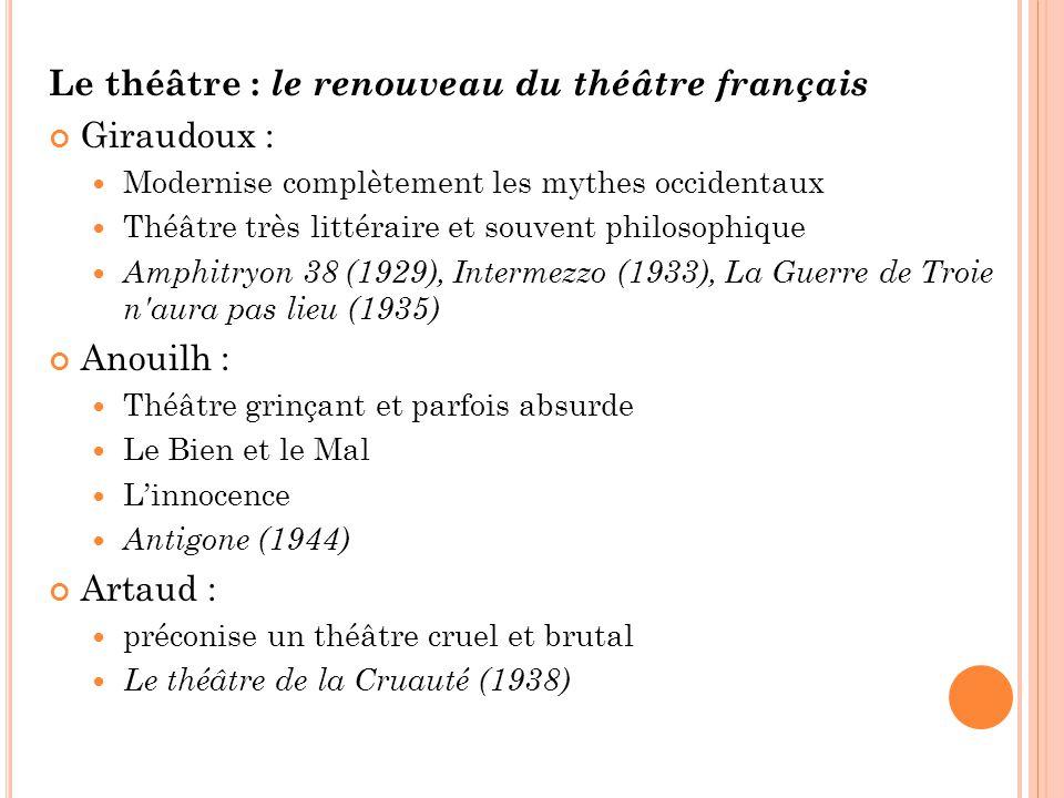 Le théâtre : le renouveau du théâtre français Giraudoux : Modernise complètement les mythes occidentaux Théâtre très littéraire et souvent philosophiq