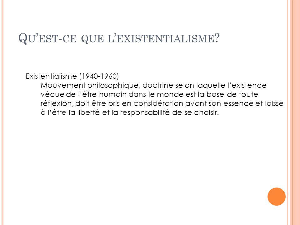 Q U EST - CE QUE L EXISTENTIALISME ? Existentialisme (1940-1960) Mouvement philosophique, doctrine selon laquelle lexistence vécue de lêtre humain dan