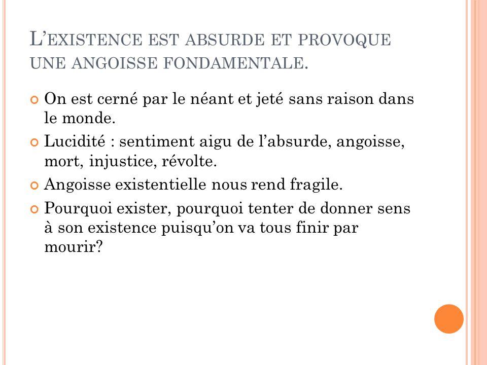 L EXISTENCE EST ABSURDE ET PROVOQUE UNE ANGOISSE FONDAMENTALE.