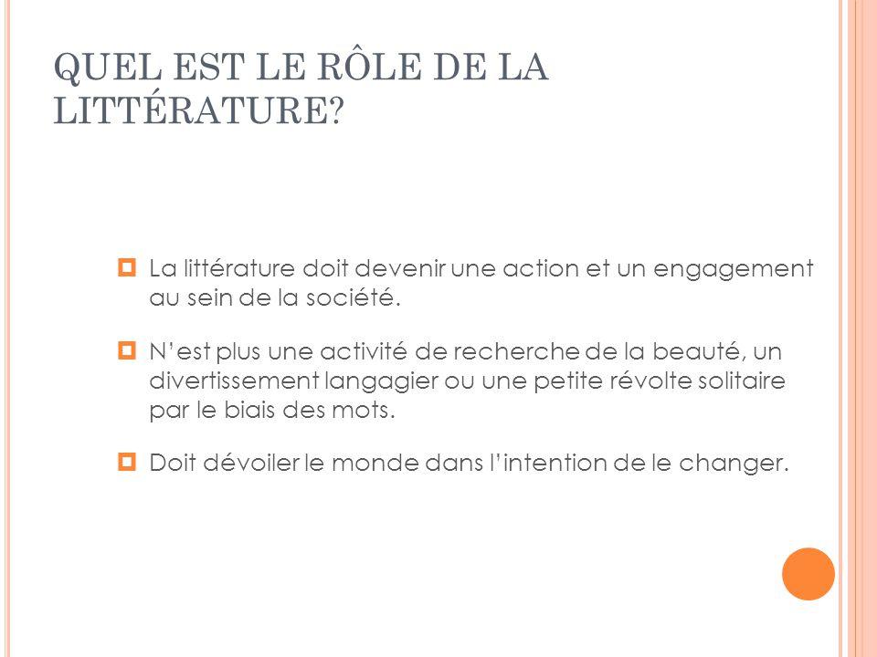 QUEL EST LE RÔLE DE LA LITTÉRATURE? La littérature doit devenir une action et un engagement au sein de la société. Nest plus une activité de recherche