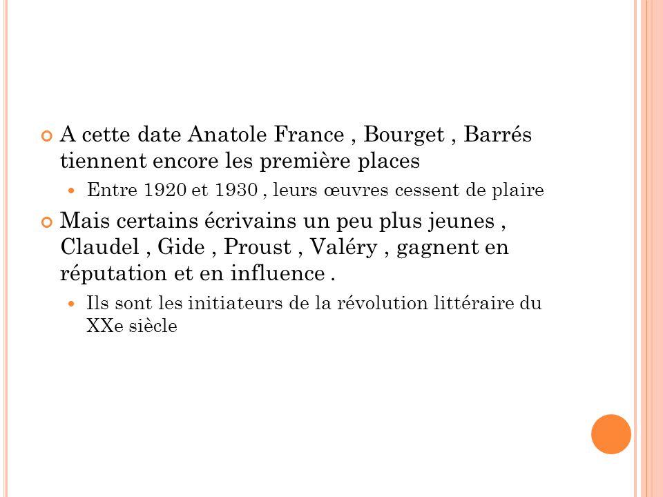 A cette date Anatole France, Bourget, Barrés tiennent encore les première places Entre 1920 et 1930, leurs œuvres cessent de plaire Mais certains écrivains un peu plus jeunes, Claudel, Gide, Proust, Valéry, gagnent en réputation et en influence.
