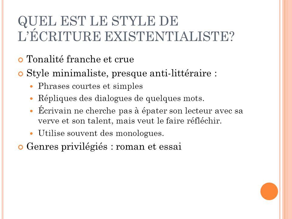 QUEL EST LE STYLE DE LÉCRITURE EXISTENTIALISTE? Tonalité franche et crue Style minimaliste, presque anti-littéraire : Phrases courtes et simples Répli