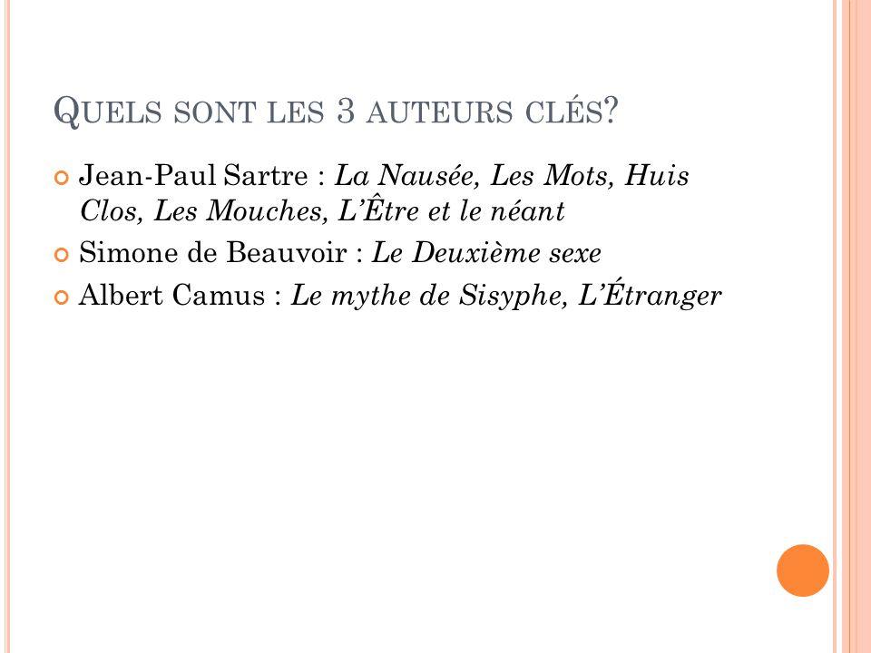 Q UELS SONT LES 3 AUTEURS CLÉS ? Jean-Paul Sartre : La Nausée, Les Mots, Huis Clos, Les Mouches, LÊtre et le néant Simone de Beauvoir : Le Deuxième se
