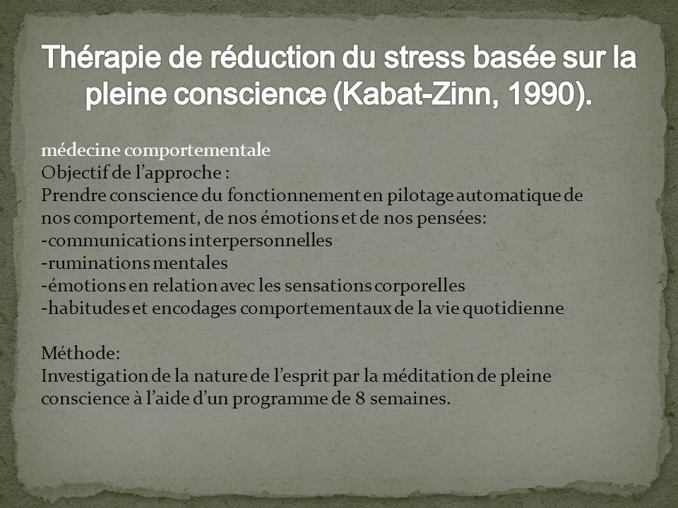 . médecine comportementale Objectif de lapproche : Prendre conscience du fonctionnement en pilotage automatique de nos comportement, de nos émotions e