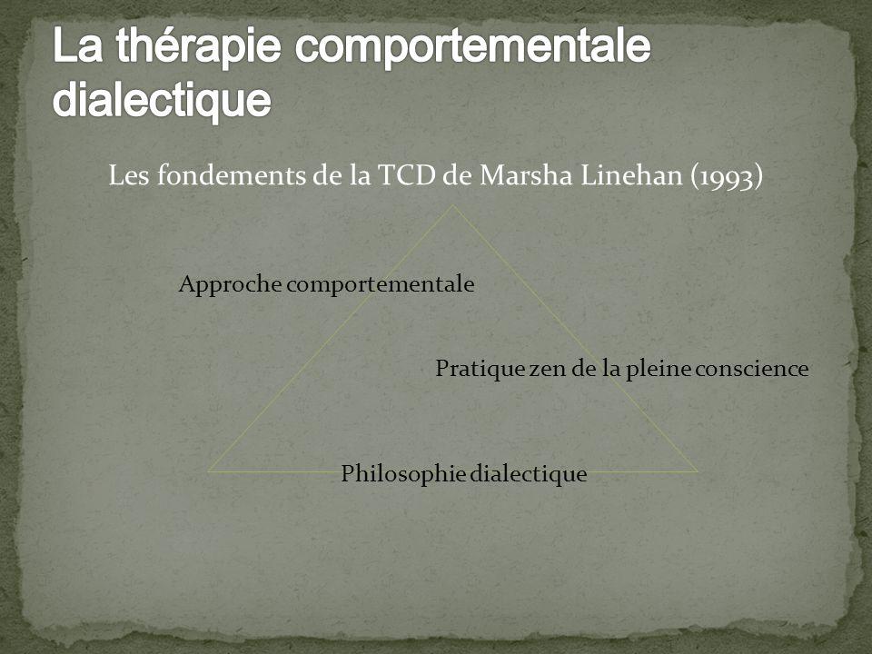 Approche comportementale Pratique zen de la pleine conscience Philosophie dialectique Les fondements de la TCD de Marsha Linehan (1993)
