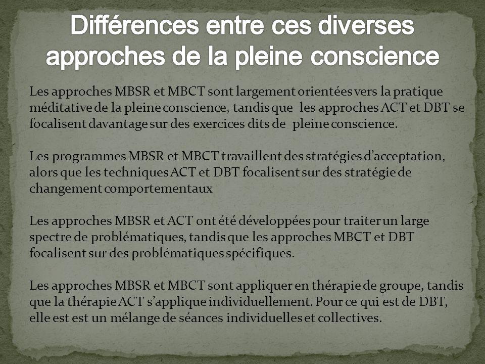 Les approches MBSR et MBCT sont largement orientées vers la pratique méditative de la pleine conscience, tandis que les approches ACT et DBT se focali