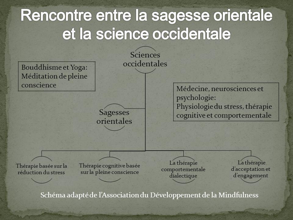 Sciences occidentales Thérapie basée sur la réduction du stress Thérapie cognitive basée sur la pleine conscience La thérapie comportementale dialecti