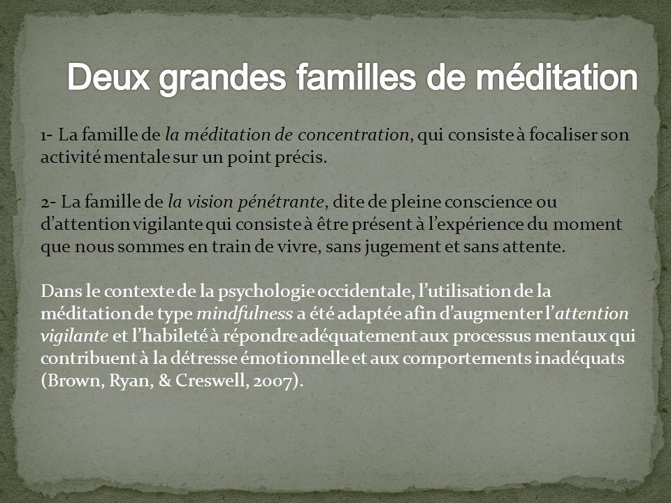 1- La famille de la méditation de concentration, qui consiste à focaliser son activité mentale sur un point précis. 2- La famille de la vision pénétra