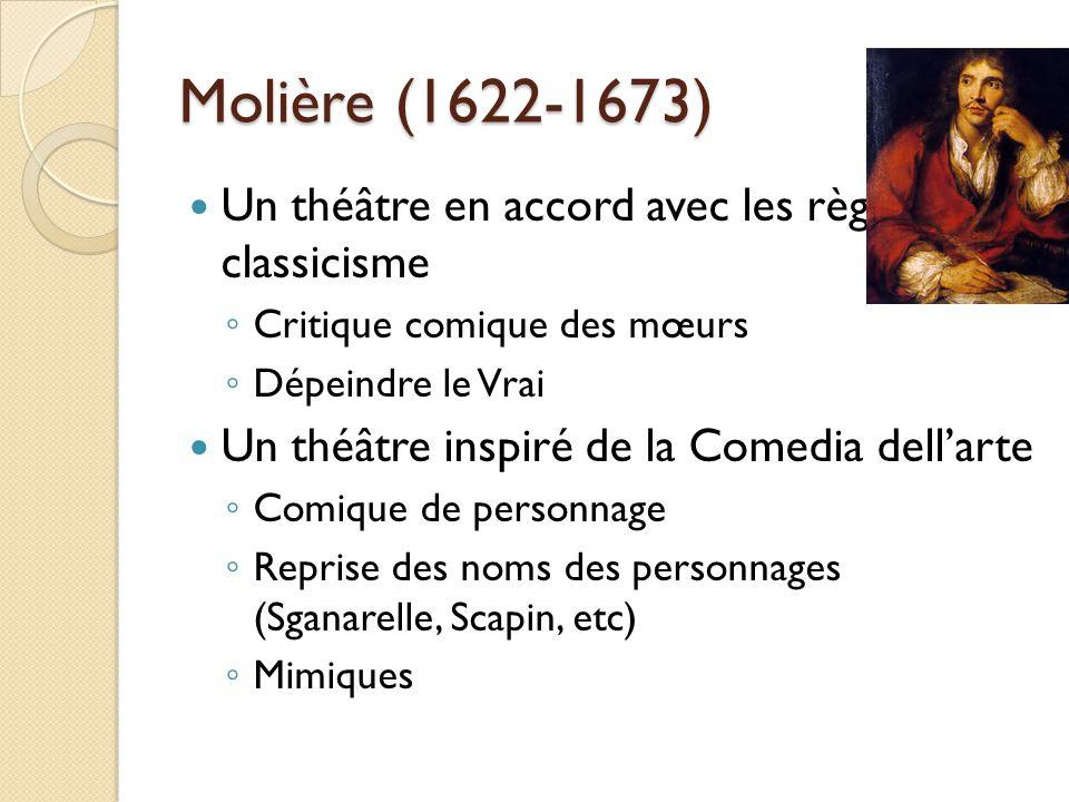 Molière (1622-1673) Un théâtre en accord avec les règles du classicisme Critique comique des mœurs Dépeindre le Vrai Un théâtre inspiré de la Comedia