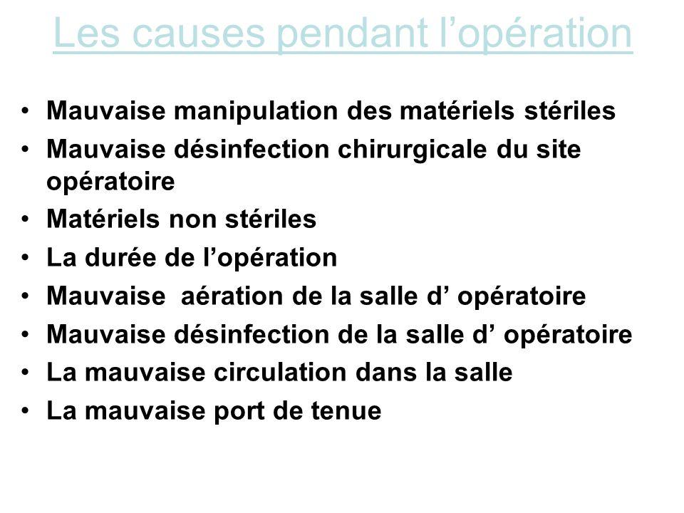 Les causes pendant lopération Mauvaise manipulation des matériels stériles Mauvaise désinfection chirurgicale du site opératoire Matériels non stérile