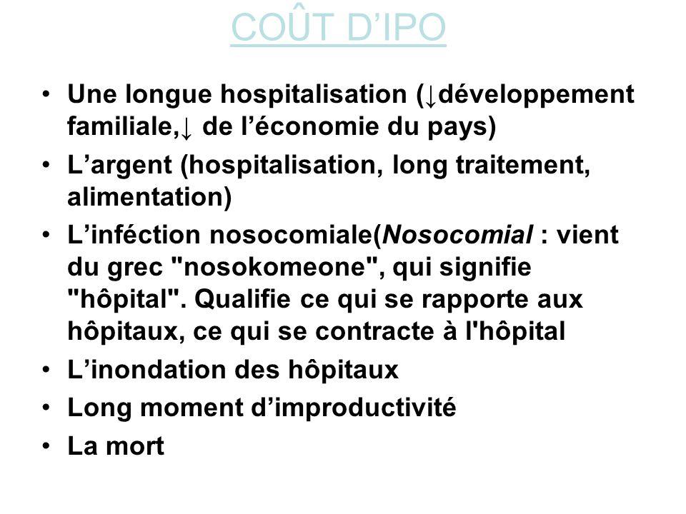 CO Û T DIPO Une longue hospitalisation (développement familiale, de léconomie du pays) Largent (hospitalisation, long traitement, alimentation) Linféc