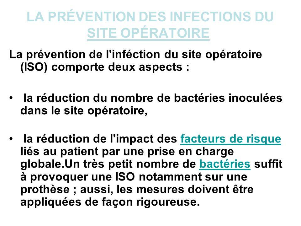 LA PRÉVENTION DES INFECTIONS DU SITE OPÉRATOIRE La prévention de l'inféction du site opératoire (ISO) comporte deux aspects : la réduction du nombre d