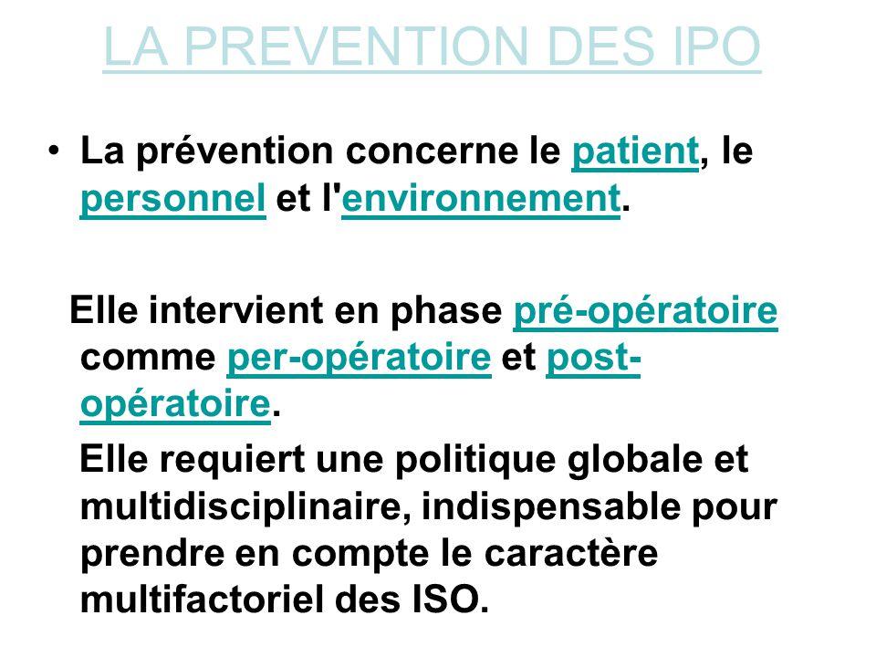 LA PREVENTION DES IPO La prévention concerne le patient, le personnel et l'environnement.patient personnelenvironnement Elle intervient en phase pré-o