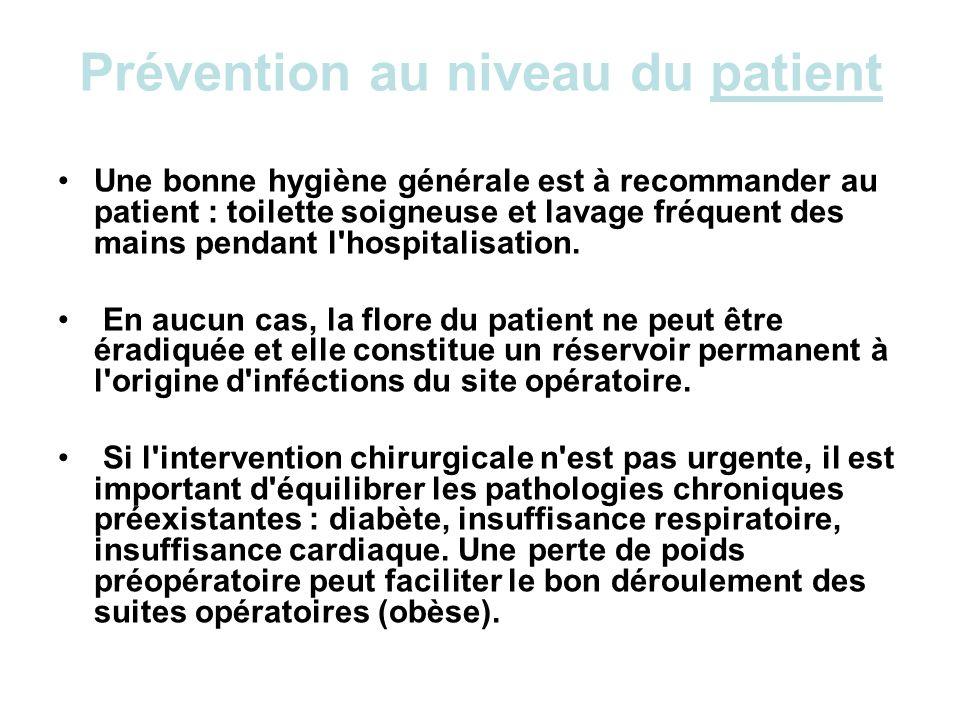 Prévention au niveau du patient Une bonne hygiène générale est à recommander au patient : toilette soigneuse et lavage fréquent des mains pendant l'ho