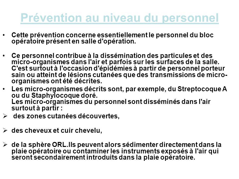 Prévention au niveau du personnel Cette prévention concerne essentiellement le personnel du bloc opératoire présent en salle d'opération. Ce personnel
