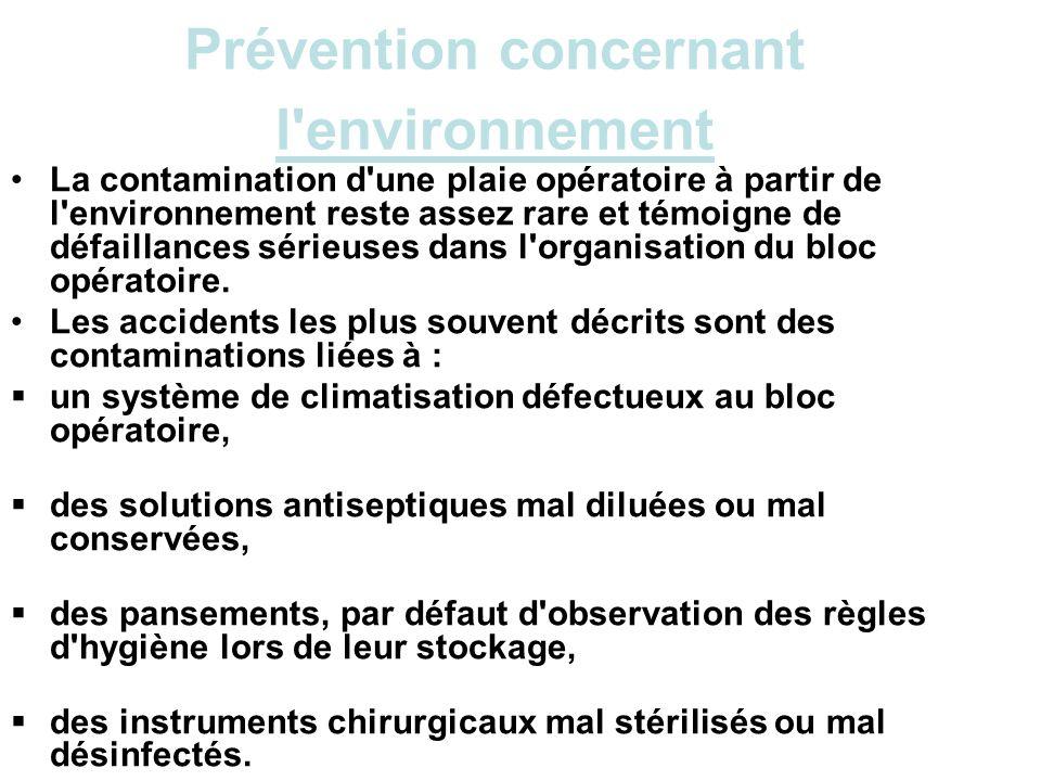 Prévention concernant l'environnement La contamination d'une plaie opératoire à partir de l'environnement reste assez rare et témoigne de défaillances