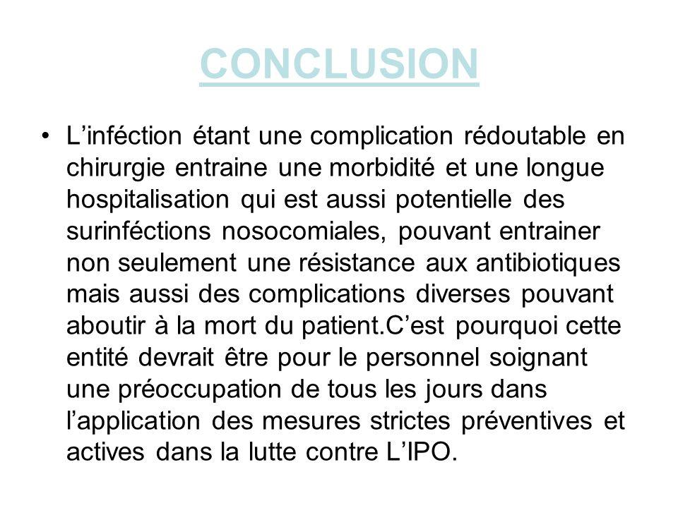 CONCLUSION Linféction étant une complication rédoutable en chirurgie entraine une morbidité et une longue hospitalisation qui est aussi potentielle de