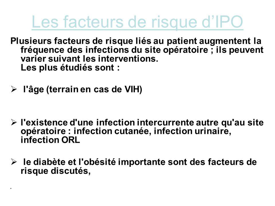 Les facteurs de risque dIPO Plusieurs facteurs de risque liés au patient augmentent la fréquence des infections du site opératoire ; ils peuvent varie