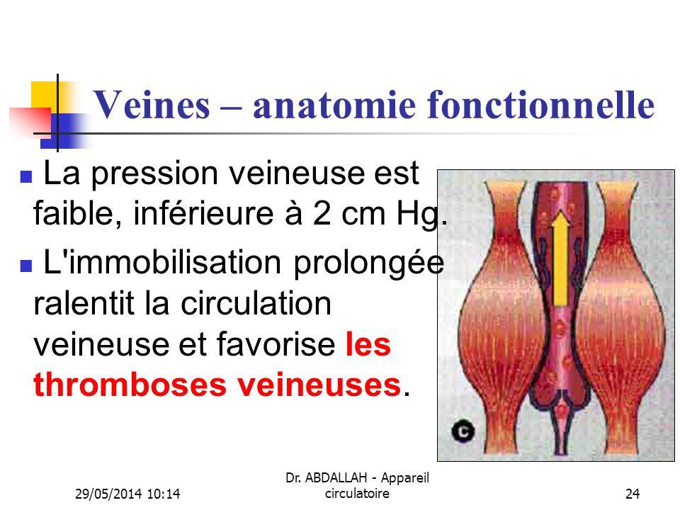 29/05/2014 10:16 Dr. ABDALLAH - Appareil circulatoire24 Veines – anatomie fonctionnelle La pression veineuse est faible, inférieure à 2 cm Hg. L'immob