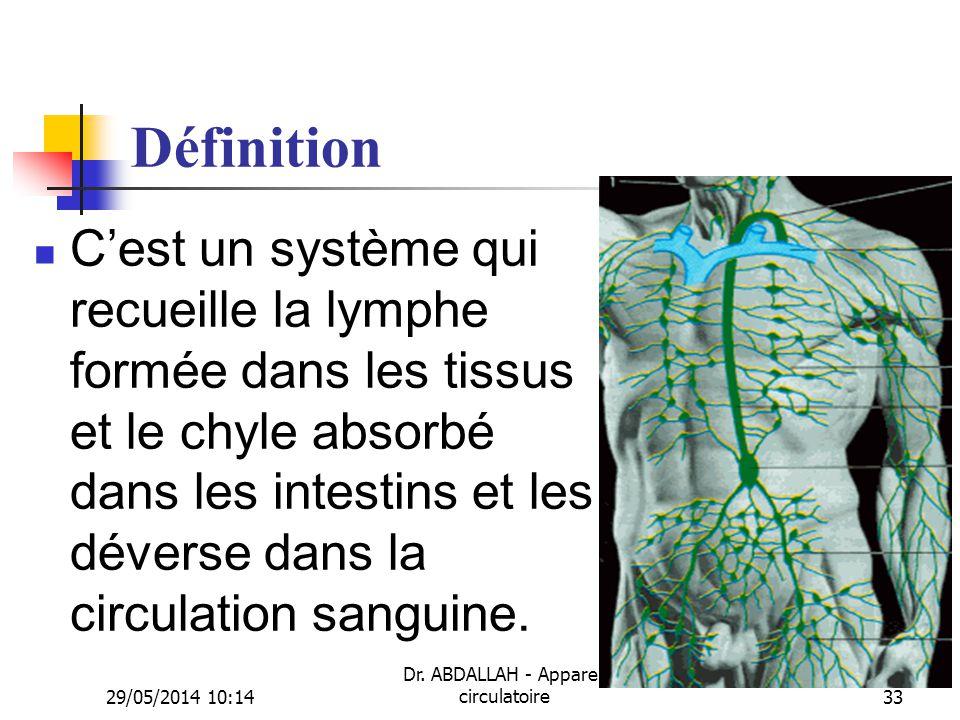 29/05/2014 10:16 Dr. ABDALLAH - Appareil circulatoire33 Définition Cest un système qui recueille la lymphe formée dans les tissus et le chyle absorbé