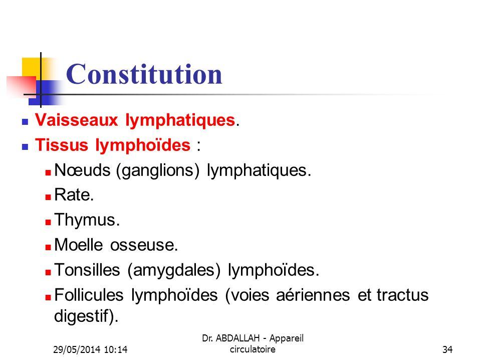 29/05/2014 10:16 Dr. ABDALLAH - Appareil circulatoire34 Constitution Vaisseaux lymphatiques. Tissus lymphoïdes : Nœuds (ganglions) lymphatiques. Rate.