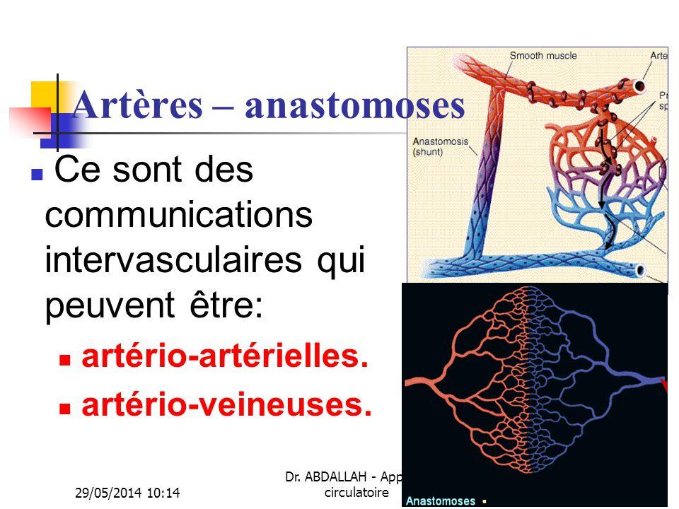 29/05/2014 10:16 Dr. ABDALLAH - Appareil circulatoire5 Artères – anastomoses Ce sont des communications intervasculaires qui peuvent être: artério-art