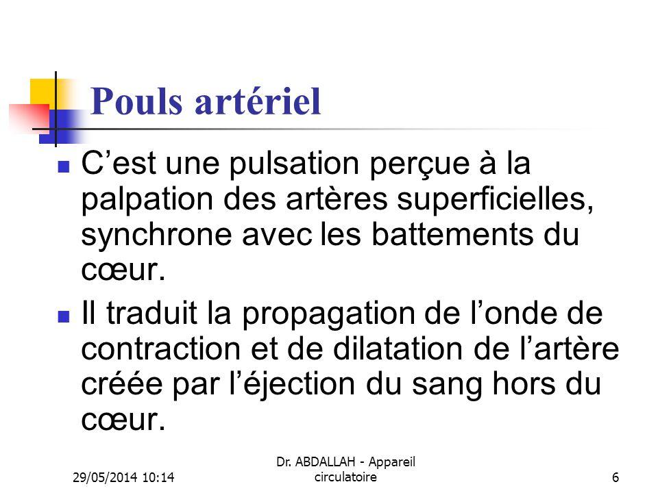 29/05/2014 10:16 Dr. ABDALLAH - Appareil circulatoire6 Pouls artériel Cest une pulsation perçue à la palpation des artères superficielles, synchrone a