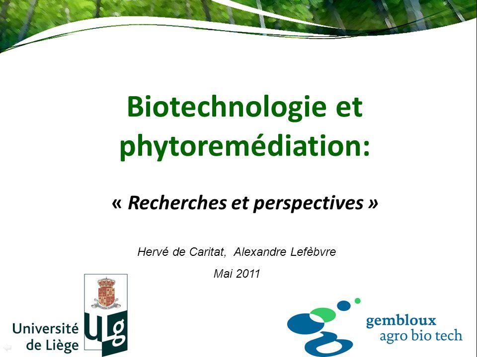 Biotechnologie et phytoremédiation: « Recherches et perspectives » Hervé de Caritat, Alexandre Lefèbvre Mai 2011