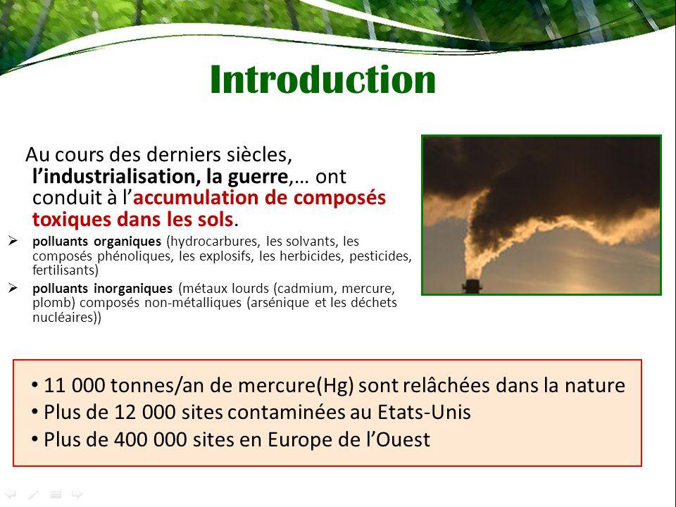 Introduction Au cours des derniers siècles, lindustrialisation, la guerre,… ont conduit à laccumulation de composés toxiques dans les sols.